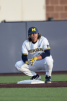 Michigan Wolverines outfielder Jordan Brewer (22) on third base against the San Jose State Spartans on March 27, 2019 in Game 2 of the NCAA baseball doubleheader at Ray Fisher Stadium in Ann Arbor, Michigan. Michigan defeated San Jose State 3-0. (Andrew Woolley/Four Seam Images)