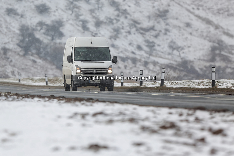 Pictured: A van travels on the A470 road in Storey Arms, Brecon Beacons, Wales, UK.<br /> Re: The Beast from the East wind has been affecting most parts of the UK with areas reaching temperatures below zero.