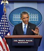 """United States President Barack Obama delivers remarks on the Trayvon Martin case during a surprise visit to the Brady Press Briefing Room at the White House in Washington, DC, USA, 19 July 2013. In his remarks the President said """"Trayvon Martin could have been me, 35 years ago,"""" adding that """"it's important to recognize that the African American community is looking at this issue through a set of experiences and a history that doesn't go away.""""<br /> Credit: Shawn Thew / Pool via CNP"""