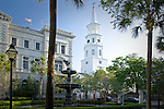 St Michaels church seen from the Hollingsworth Judicial Center, Charleston, SC, USA