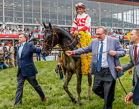 BALTIMORE, MD - MAY 20: Javier Castellano, aboard Cloud Computing  #2, is led to the winner's circle after winning the 142nd Preakness Stakes on Preakness Stakes Day at Pimlico Race Course on May 20, 2017 in Baltimore, Maryland. (Photo by Jesse Caris/Eclipse Sportswire/Getty Images)