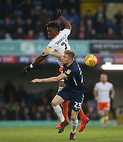 Blackpool's Armand Gnanduillet and Southend United's Taylor Moore<br /> <br /> Photographer Rob Newell/CameraSport<br /> <br /> The EFL Sky Bet League One - Southend United v Blackpool - Saturday 17th November 2018 - Roots Hall - Southend<br /> <br /> World Copyright &copy; 2018 CameraSport. All rights reserved. 43 Linden Ave. Countesthorpe. Leicester. England. LE8 5PG - Tel: +44 (0) 116 277 4147 - admin@camerasport.com - www.camerasport.com