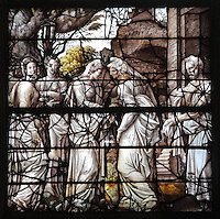 The Visitation, with Mary visiting her sister Elizabeth, from the Life of the Virgin and the Childhood of Christ grisaille stained glass window with silver and gold on white glass, 1545, by the School of Fontainebleau, in the South chapel choir of the Collegiate Church of Saint-Gervais-Saint-Protais, built 12th to 16th centuries in Gothic and Renaissance styles, in Gisors, Eure, Haute-Normandie, France. The church was consecrated in 1119 by Calixtus II but the nave was rebuilt from 1160 after a fire. The church was listed as a historic monument in 1840. Picture by Manuel Cohen