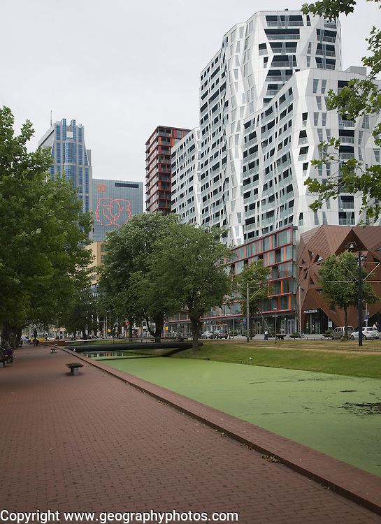 Modern architecture of the Calypso mixed use urban development project Rotterdam, Netherlands designed by British architect Will Alsop which includes 408 apartments, 500 covered parking spaces, and 6,500 square meters of commercial space.