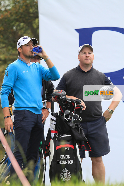 Simon Thornton (IRL)and his caddy Gary on the 14th tee during Practice Day of The Open De Espana at The PGA Catalunya Resort on Tuesday 13th May 2014.<br /> Picture:  Thos Caffrey / www.golffile.ie