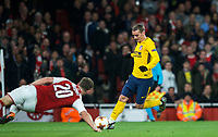 Antoine Griezmann of Atletico Madrid scores his goal during the UEFA Europa League Semi Final 1st leg match between Arsenal and Atletico Madrid at the Emirates Stadium, London, England on 26 April 2018. Photo by Andy Aleksiejczuk / PRiME Media Images