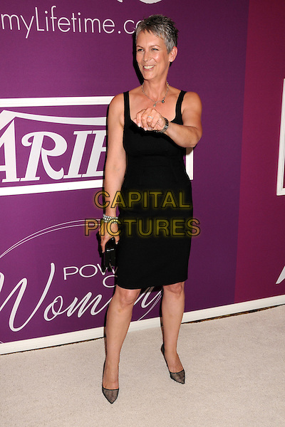 "JAMIE LEE CURTIS.Variety's 1st Annual ""Power Of Women"" Luncheon held at the Beverly Wilshire hotel, Beverly Hills, California, USA..September 24th, 2009.full length black sleeveless dress clutch bag shoes sheer grey gray pointy bracelets pearls  hand.CAP/ADM/BP.©Byron Purvis/AdMedia/Capital Pictures."