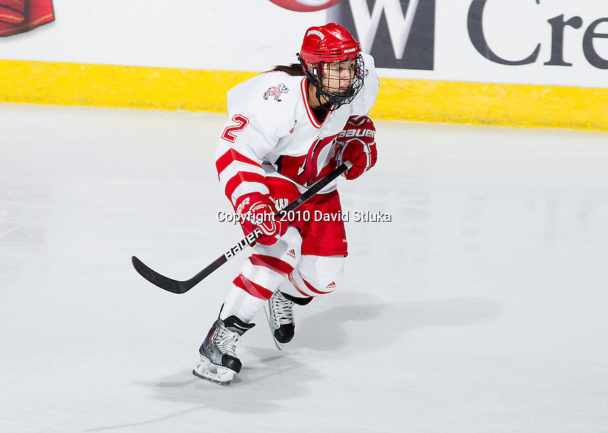 Wisconsin Badgers forward Kelly Nash (2) skates during an NCAA women's hockey game against Minnesota State Mavericks on October 30, 2010 at the Kohl Center in Madison, Wisconsin. The Badgers won 6-1. (Photo by David Stluka)