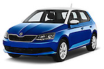 2015 Skoda Fabia Ambition 5 Door Hatchback Angular Front stock photos of front three quarter view