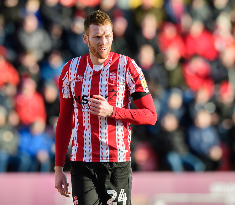 Lincoln City's Cian Bolger<br /> <br /> Photographer Chris Vaughan/CameraSport<br /> <br /> The EFL Sky Bet League Two - Lincoln City v Northampton Town - Saturday 9th February 2019 - Sincil Bank - Lincoln<br /> <br /> World Copyright © 2019 CameraSport. All rights reserved. 43 Linden Ave. Countesthorpe. Leicester. England. LE8 5PG - Tel: +44 (0) 116 277 4147 - admin@camerasport.com - www.camerasport.com