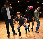 "Carvens Lissaint, Thayne Jasperson, Sabrina Imamura and Terrance Spencer during The Rockefeller Foundation and The Gilder Lehrman Institute of American History sponsored High School student #eduHam matinee performance of ""Hamilton"" Q & A at the Richard Rodgers Theatre on December 5,, 2018 in New York City."