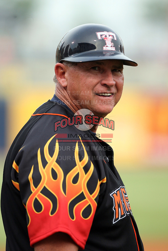 June 12th 2008:  Manager Larry Parrish of the Toledo Mudhens, Class-AAA affiliate of the Detroit Tigers, during a game at Fifth Third Field in Toledo, OH.  Photo by:  Mike Janes/Four Seam Images