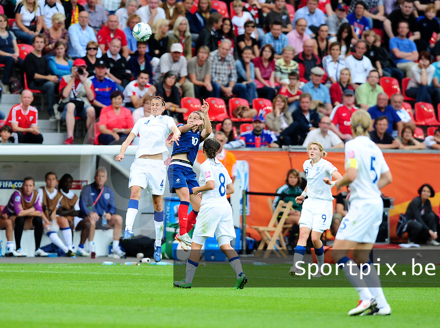 Fifa Women's World Cup Germany 2011 : England - France - at Leverkusen : luchtduel tussen Jill Scott en Camille Abily.foto DAVID CATRY / Vrouwenteam.be