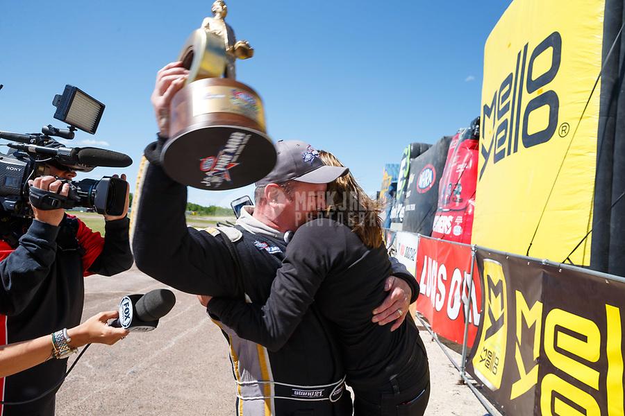 Apr 23, 2017; Baytown, TX, USA; NHRA pro mod drier Steve Matusek celebrates after winning the Springnationals at Royal Purple Raceway. Mandatory Credit: Mark J. Rebilas-USA TODAY Sports