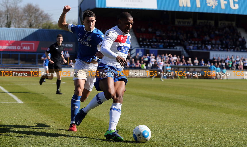 Andre Boucaud of Dagenham and Redbridge and Oliver Norburn of Macclesfield Town during Macclesfield Town vs Dagenham & Redbridge, Vanarama National League Football at the Moss Rose Stadium on 8th April 2017