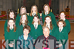 Loreto NS who were confirmed in St Mary's Cathedral, Killarney on Friday front row l-r: Mary O'Sullivan Principal, Bishop Bill Murphy Second row: Aine O'Sullivan, Emily Tracey, Siobhain Fleming, Andrea McCarthy, Alicga Korzec. Back row: Kara O'Connor, Emer O'Sullivan, Lauren O'Connor, Aoife Allen, Katie O'Connor