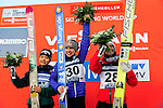 HOLMENKOLLEN, OSLO, NORWAY - March 17: Winners podium of the Ladies FIS Ski Jumping World Cup from the large hill HS 134 Holmenkollbakken on March 17, 2013 in Oslo, Norway. (C) Winner Sarah Hendrickson of USA, (L) 2nd place Sara Takanashi of Japan (JPN) and (R) 3rdplace Jacqueline Seifriedsberger of Austria (AUT). (Photo by Dirk Markgraf)