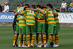 14 May 2010: Tampa Bay's starters huddle before the start of the game. The FC Tampa Bay Rowdies defeated the Carolina RailHawks 2-1 at WakeMed Stadium in Cary, North Carolina in a regular season U.S. Soccer Division-2 soccer game.