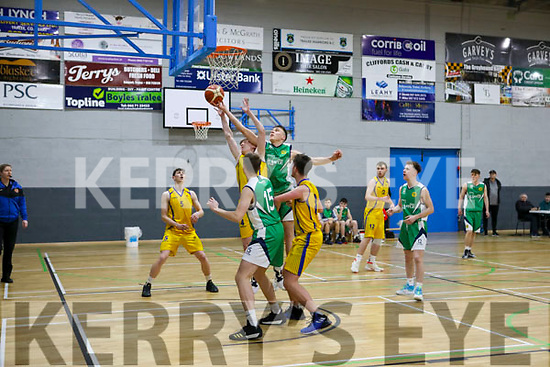 Action from St Brendans v KCYMS Killorglin in the Kerry Airport KABB U18 Basketball final in the Sports Complex on Saturday.