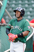 Outfielder Carlos Mesa (28) of the Greenville Drive during a preseason workout on  Wednesday, April 8, 2015, the day before Opening Day, at Fluor Field at the West End in Greenville, South Carolina. (Tom Priddy/Four Seam Images)