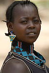 Themay Girl, Themay Tribe Village, Omo Valley, Ethiopia, portrait, person, one, tribes, tribal, indigenous, peoples, Southern, ethnic, rural, local, traditional, culture, primitive,.Africa....