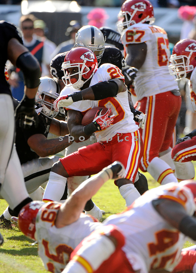 THOMAS JONES, of the Kansas City Chiefs, in action during the Chiefs game against the Oakland Raiders on October 23, 2011 at O.co Coliseum in Oakland,CA. The Chiefs beat the Raiders 28-0.