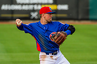 Tennessee Smokies shortstop Andrew Ely (4) during a Southern League game against the Biloxi Shuckers on May 25, 2017 at Smokies Stadium in Kodak, Tennessee.  Tennessee defeated Biloxi 10-4. (Brad Krause/Krause Sports Photography)