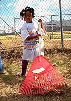 Girl age 5 raking leaves in neighborhood baseball field cleanup.  St Paul  Minnesota USA