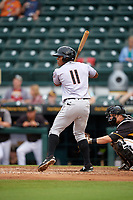 Jupiter Hammerheads left fielder Stone Garrett (11) at bat during a game against the Bradenton Marauders on May 25, 2018 at LECOM Park in Bradenton, Florida.  Jupiter defeated Bradenton 3-2.  (Mike Janes/Four Seam Images)