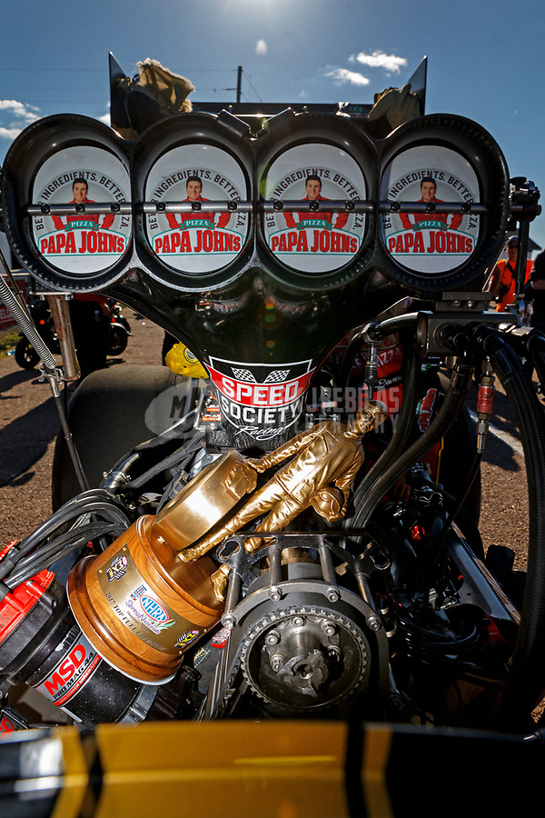 Apr 23, 2017; Baytown, TX, USA; Detailed view of the Wally trophy as NHRA top fuel driver Leah Pritchett celebrates after winning the Springnationals at Royal Purple Raceway. Mandatory Credit: Mark J. Rebilas-USA TODAY Sports