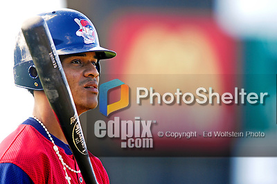 30 June 2007: Lowell Spinners infielder Pedro Vasquez awaits his turn in the batting cage prior to a game against the Vermont Lake Monsters at Historic Centennial Field in Burlington, Vermont. The Spinners defeated the Lake Monsters 8-4 in the last game of their 3-game, NY Penn-League series...Mandatory Photo Credit: Ed Wolfstein Photo