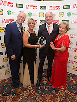 19/05/2015 <br /> (L to R) Rory Cowan,Anne Maire Norman  Jimmy Norman &amp; Eilish O Caroll<br /> during the Irish mirror pride of Ireland awards at the mansion house, Dublin.<br /> Photo: gareth chaney Collins