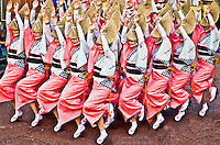 Tokashima`s famous Awaodori festival dancers perform with military like precision   all tightly packed together.
