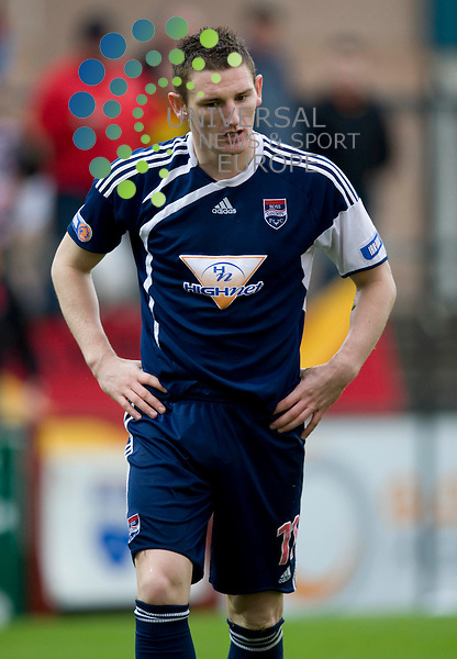 FOOTBALL.IRN BRU SFL Div 1.Ross County v Partick Thistle.Pictured is  Ross Counties Martin Scott after being sent off..Picture by Gordon Gillespie