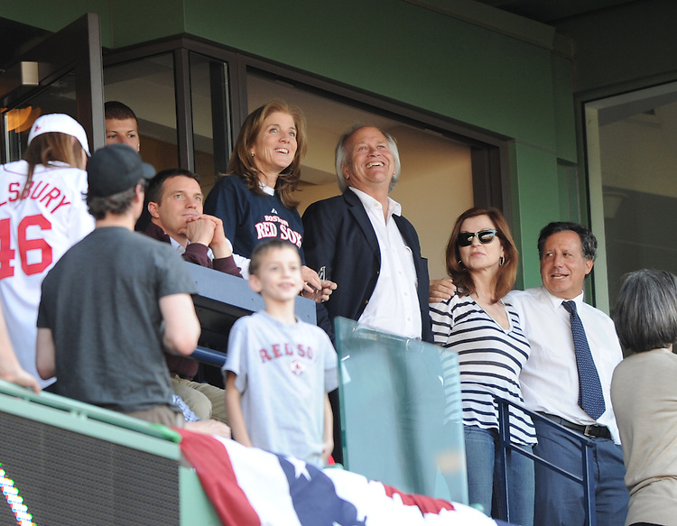 -Boston, MA, April 20, 2012-<br /> <br /> Caroline Kennedy watches as the fans react to &quot;Sweet Caroline,&quot; a song written by Neil Diamond about her, during the eighth inning at Fenway Park. <br /> <br /> (Photo by Michael Ivins/Boston Red Sox)