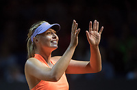Russia's Maria Sharapova celebrates wins her  return to the court after Drugs Ban playing Roberta Vinci from Italy   during the WTA  Porsche Tennis Grand Prix  at the Porsche Arena,Stuttgart  on 26th April 2017 Picture  Dave Shopland/BPI