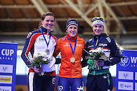SCHAATSEN: BERLIJN: Sportforum Berlin, 07-12-2014, ISU World Cup, Podium 1500m Ladies Division A, Heather Richardson (USA), Ireen Wüst (NED), Marrit Leenstra (NED), ©foto Martin de Jong