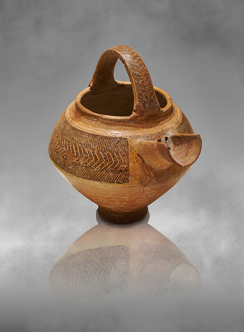 Bronze Age Anatolian decorated terra cotta tea pot with strainer - 19th to 17th century BC - Kültepe Kanesh - Museum of Anatolian Civilisations, Ankara, Turkey.