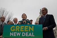 """Representative Alexandria Ocasio-Cortez, Democrat of New York, speaks during a press conference to announce the """"Green New Deal"""" held at the United States Capitol in Washington, DC on February 7, 2019. Credit: Alex Edelman / CNP/AdMedia"""