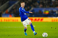 8th January 2020; King Power Stadium, Leicester, Midlands, England; English Football League Cup Football, Carabao Cup, Leicester City versus Aston Villa; James Maddison of Leicester City on the ball - Strictly Editorial Use Only. No use with unauthorized audio, video, data, fixture lists, club/league logos or 'live' services. Online in-match use limited to 120 images, no video emulation. No use in betting, games or single club/league/player publications