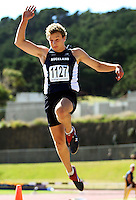 Auckland's Jason Verburg competes in the men's under-19 long jump during day two of the National athletics championships at Newtown Park, Wellington, New Zealand on Saturday, 28 March 2009. Photo: Dave Lintott / lintottphoto.co.nz