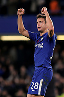 Cesar Azpilicueta of Chelsea celebrates at the final whistle during Chelsea vs Manchester United, Premier League Football at Stamford Bridge on 5th November 2017
