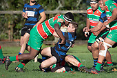 Vaughan Holdt gets driven backwards by Aca Levesiga. Counties Manukau Premier Club Rugby game between Onewhero and Waiuku, played at Onewhero on Saturday May 26th 2018. Onewhero won the game 24 - 20 after leading 17 - 12 at halftime. <br /> Onewhero Silver Fern Marquees 24 -Vaughan Holdt, Filipe Pau, Sean Bagshaw tries, Rhain Strang 3 conversions, Rhain Strang penalty.<br /> Waiuku Brian James Contracting 20 - Christian Walker, Fuifatu Asomua, Aaron Yuill tries, Christian Walker conversion, Christian Walker penalty .<br /> Photo by Richard Spranger.