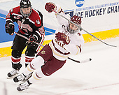 Paige Savage (NU - 28), Megan Keller (BC - 4) - The Boston College Eagles defeated the Northeastern University Huskies 5-1 (EN) in their NCAA Quarterfinal on Saturday, March 12, 2016, at Kelley Rink in Conte Forum in Boston, Massachusetts.