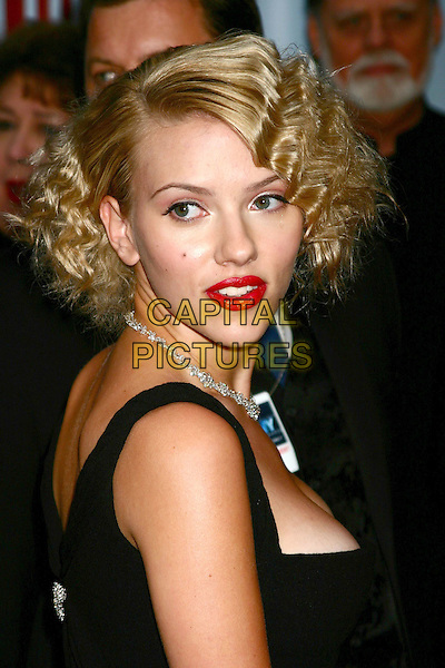 SCARLETT JOHANSSON.58th Annual Tony Awards - Arrivals.Radio City Music Hall, New York City, New York .June 6, 2004 .headshot, portrait, diamond necklace, crimped hair, wavy, red lipstick, cleavage.www.capitalpictures.com.sales@capitalpictures.com.©Capital Pictures