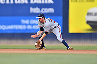 Rome Braves shortstop Braden Shewmake (39) fields a ground ball during a game against the Asheville Tourists at McCormick Field on July 18, 2019 in Asheville, North Carolina. The Tourists defeated the Braves 4-3. (Tony Farlow/Four Seam Images)