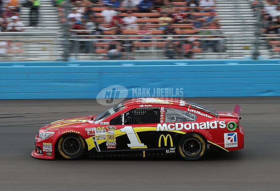 Mar. 3, 2013; Avondale, AZ, USA; NASCAR Sprint Cup Series driver Jamie McMurray during the Subway Fresh Fit 500 at Phoenix International Raceway. Mandatory Credit: Mark J. Rebilas-