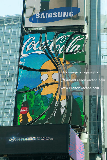 A Coca Cola LED screen advertising is pictured on Times Square in the New York City borough of Manhattan, NY, Tuesday August 2, 2011.