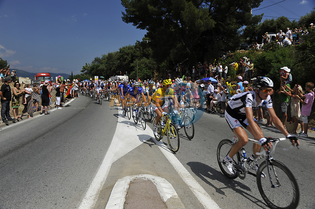 The peloton with Yellow Jersey holder Fabian Cancellara (SUI) and Team Saxo Bank on the front over the Col d'Ange  during Stage 2 of the Tour de France 2009 running 187km from Monaco to Brignoles, France. 5th July 2009 (Photo by Eoin Clarke/NEWSFILE)