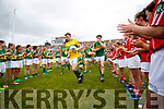 David Moran, Brian Kelly, Fionn Fitzgerald, Tadhg Morley Kerry team takes to the field before the Munster Senior Football Final at Fitzgerald Stadium on Sunday.